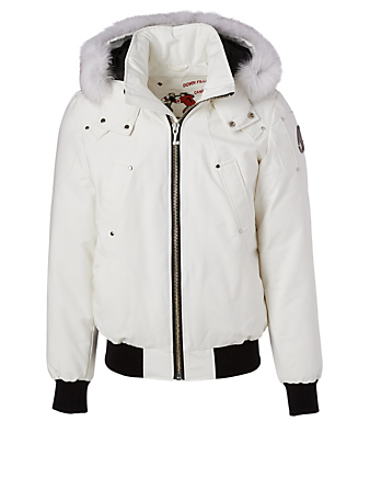 MOOSE KNUCKLES Ballistic Down Bomber Jacket With Fur Hood Men's White