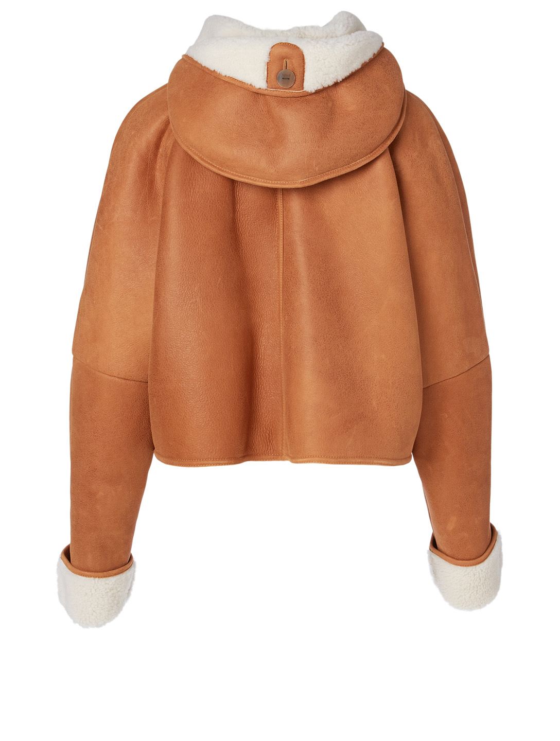 LOEWE Shearling Leather Jacket With Hood Women's Neutral