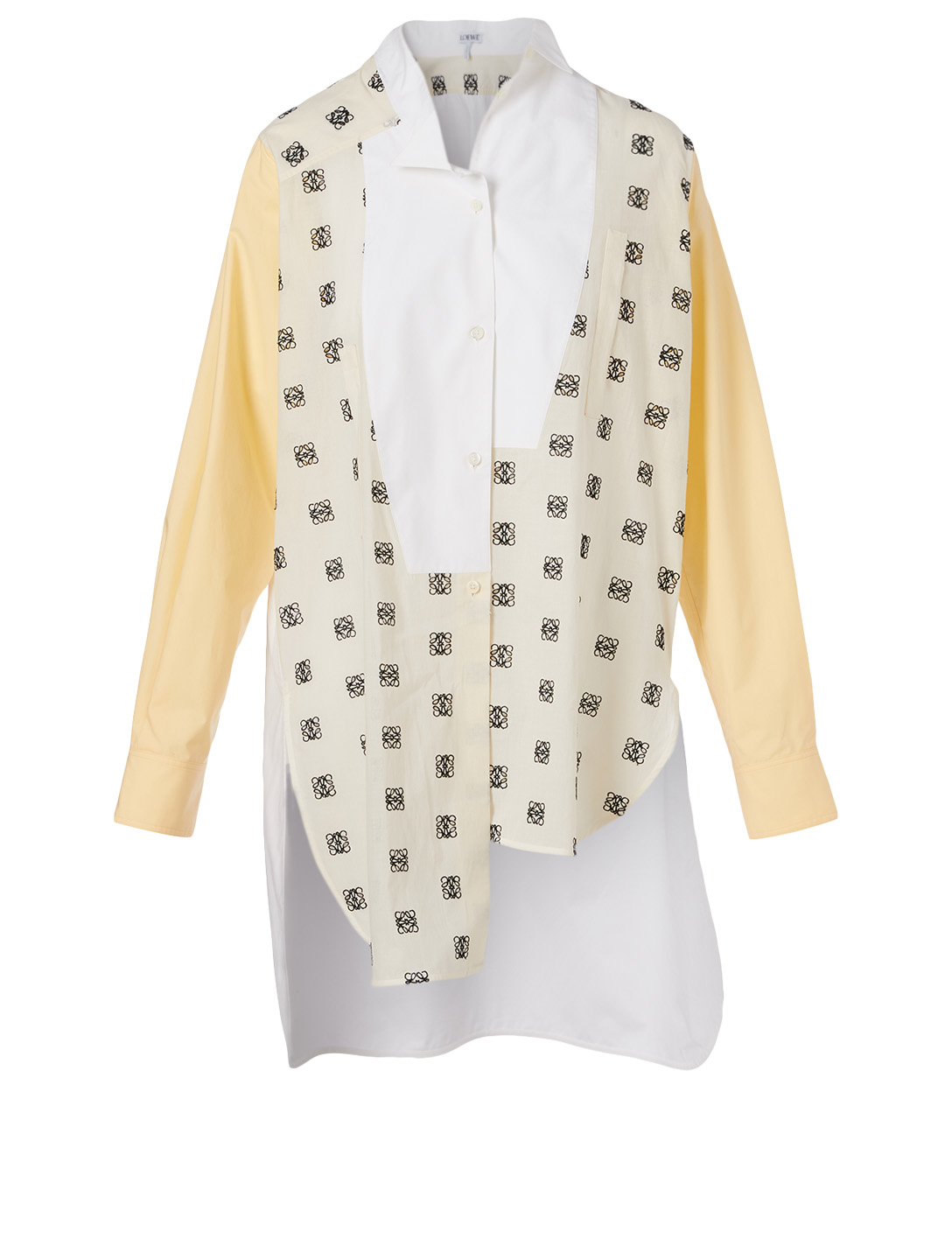 LOEWE Cotton Asymmetric Shirt In Logo Print Women's Multi