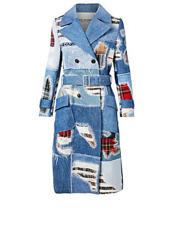JUNYA WATANABE Tartan Check Mix Denim Coat Women's Blue