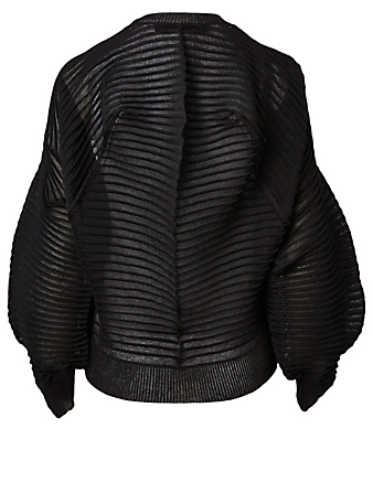 JUNYA WATANABE Horizontal Stripe Knit Cardigan Women's Black