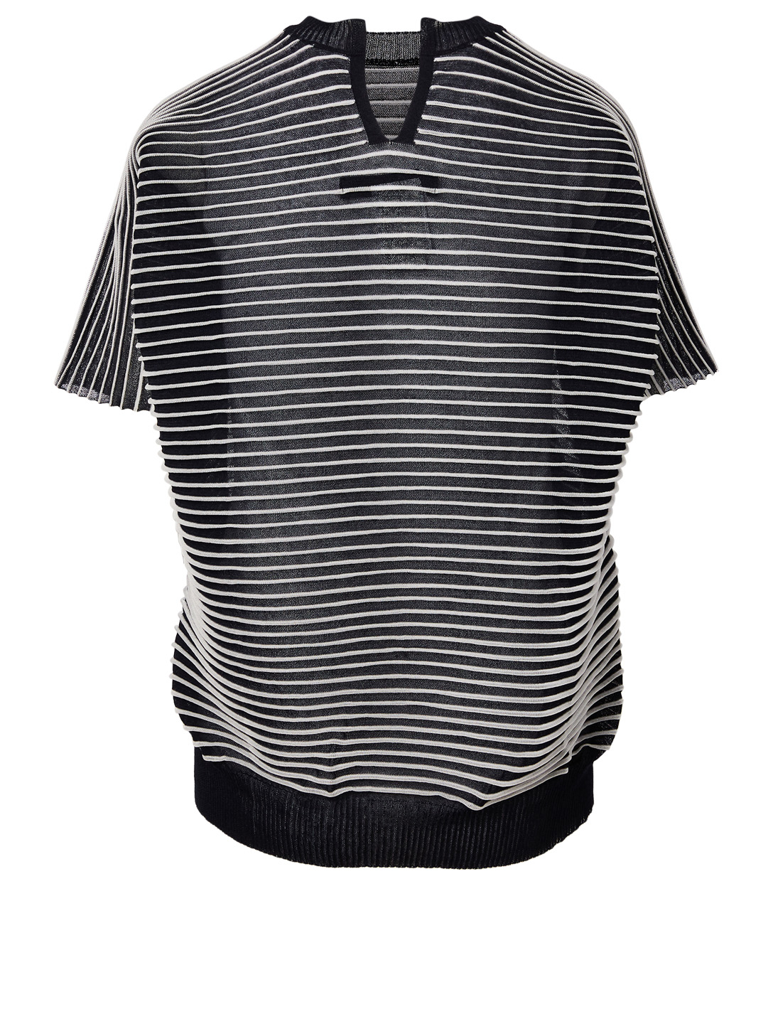 JUNYA WATANABE Short-Sleeve Horizontal Stripe Knit Sweater Women's Blue