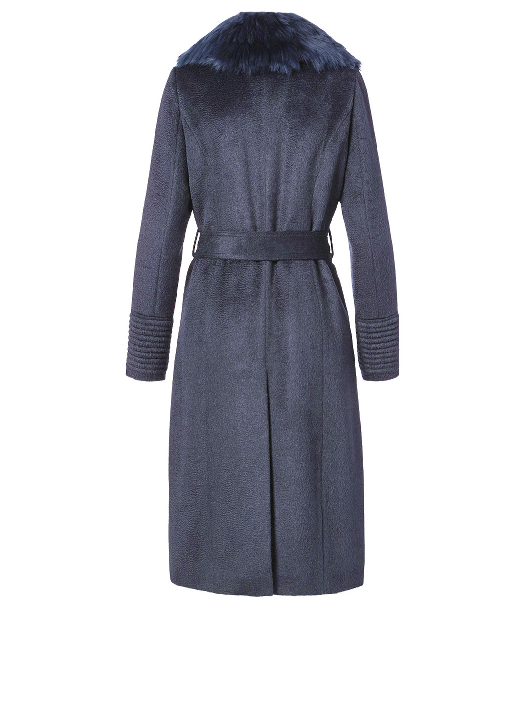 SENTALER Alpaca Long Coat with Fur Collar Women's Blue