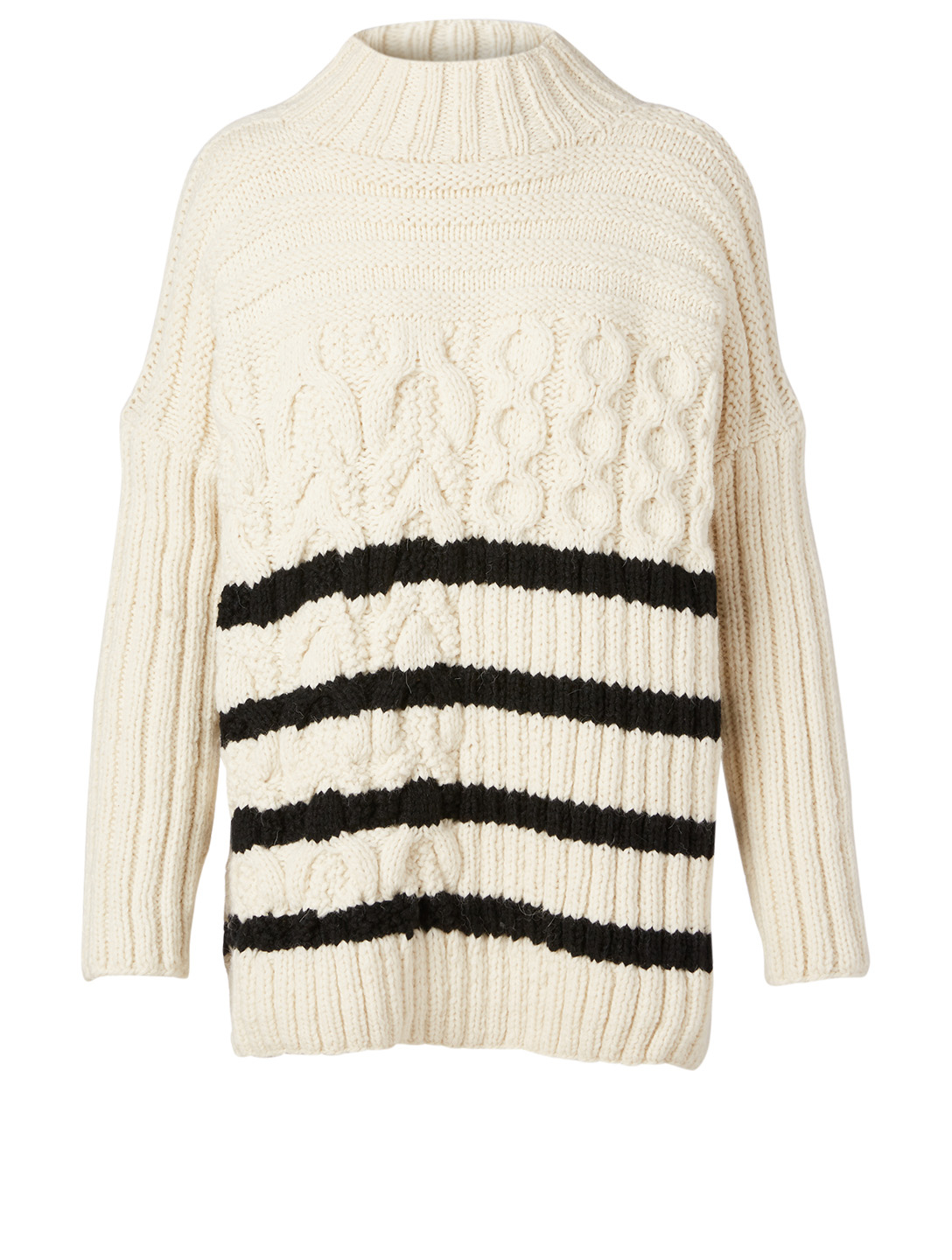 SMYTHE Mariner Alpaca-Blend Cable Knit Mockneck Sweater With Stripes Women's Black