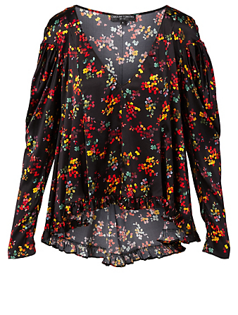 CAROLINE CONSTAS Ava Silk Stretch Top Women's Black
