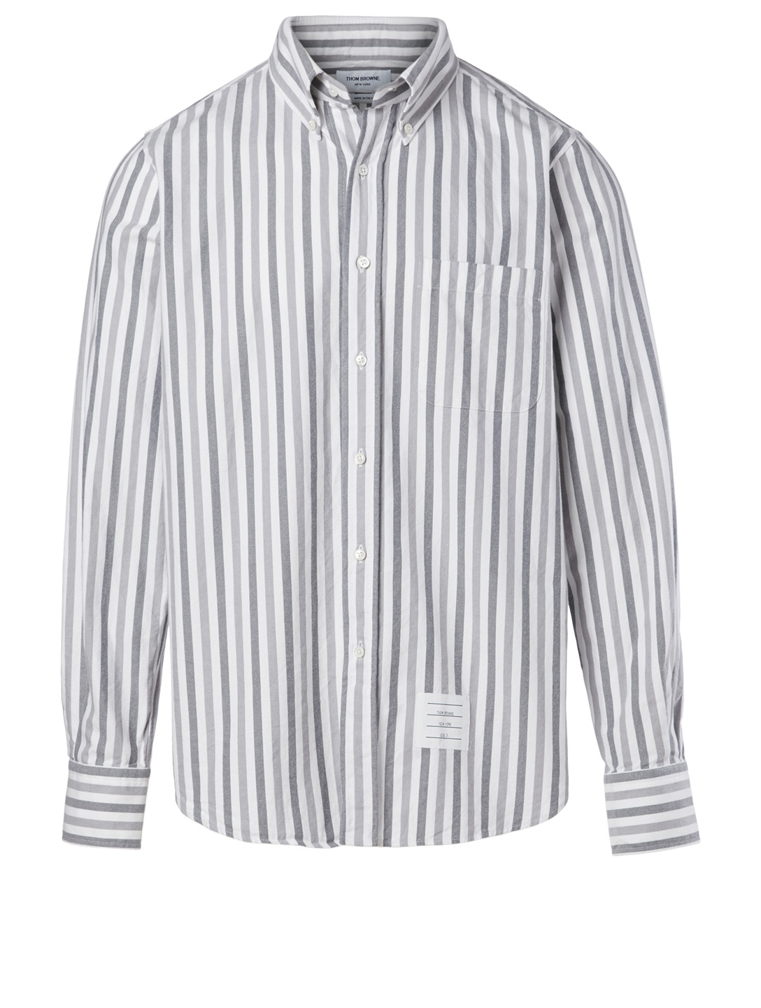 THOM BROWNE Cotton Shirt In Stripe Print Men's Grey