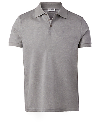SAINT LAURENT Monogram Polo Shirt Men's Grey