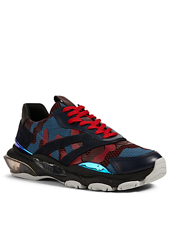 VALENTINO GARAVANI Bounce Leather And Mesh Sneakers In Camouflage Men's Blue