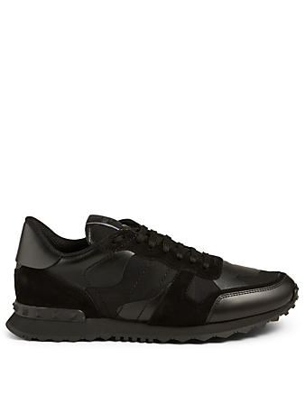 VALENTINO GARAVANI Rockrunner Leather And Fabric Sneakers In Camouflage Men's Black