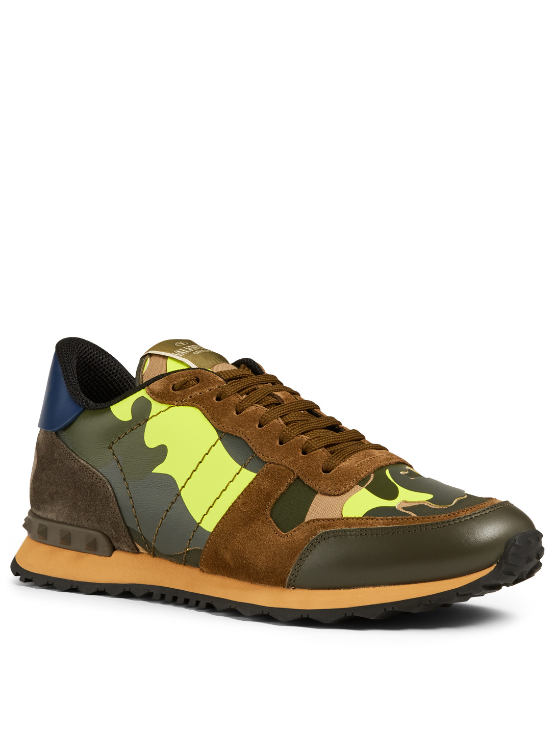 d13592d564503 ... VALENTINO GARAVANI Rockrunner Leather And Fabric Sneakers In Camouflage  Men's Green ...