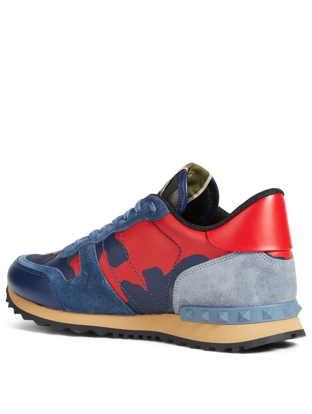 VALENTINO GARAVANI Rockrunner Leather And Fabric Sneakers In Camouflage Men's Blue