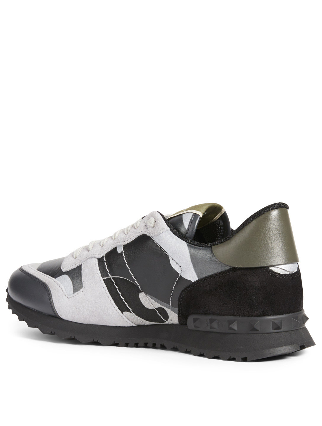 4142546848f09 ... VALENTINO GARAVANI Rockrunner Leather And Fabric Sneakers In Camouflage  Men's Grey ...
