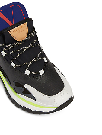 VALENTINO GARAVANI Trekking Mixed-Media Sneakers Men's Black