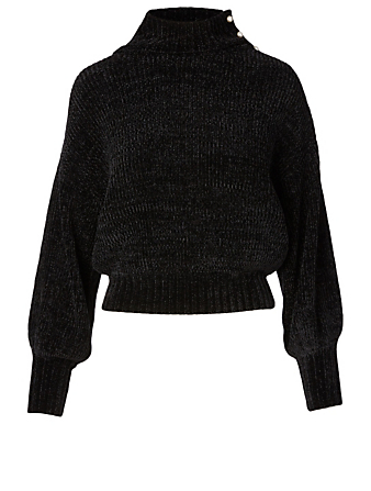 STAUD Paloma Chenille Sweater With Pearls Women's Black