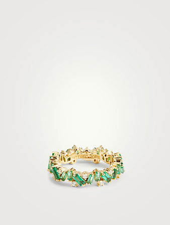 SUZANNE KALAN Rainbow Fireworks 18K Gold Bliss Ring With Emeralds And Diamonds Women's Gold