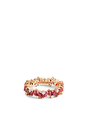 SUZANNE KALAN Rainbow Fireworks 18K Rose Gold Bliss Ring With Ruby And Diamonds Women's Metallic
