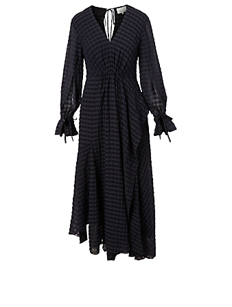 3.1 PHILLIP LIM Flared Maxi Dress In Check Pattern Women's Black