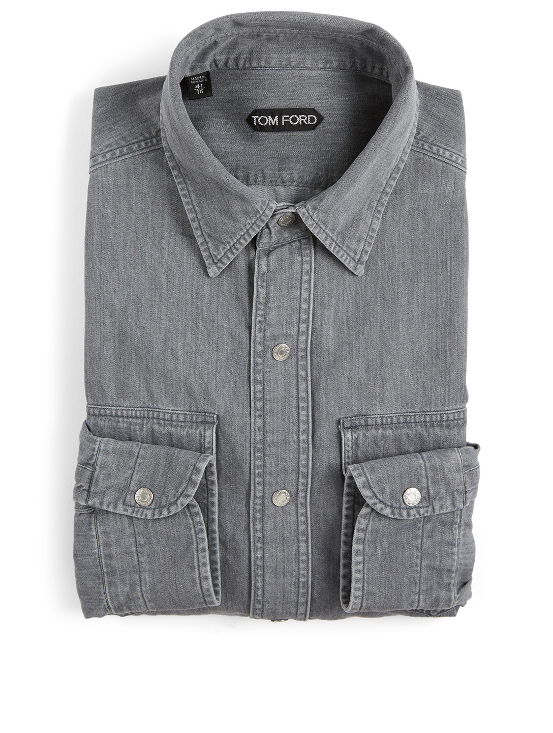 TOM FORD Cotton Denim Shirt Men's Grey