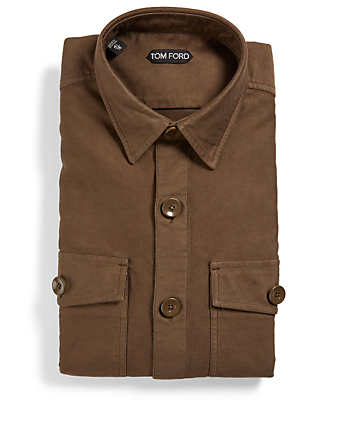 TOM FORD Cotton Long-Sleeve Shirt Men's Green