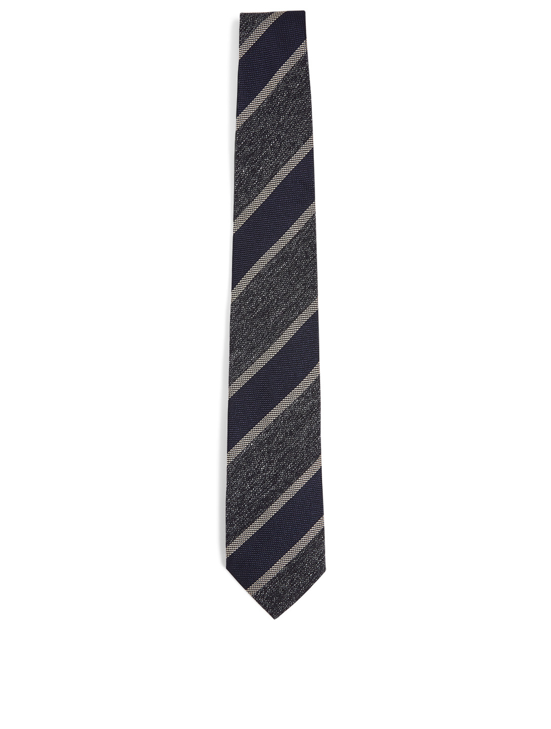 TOM FORD Silk Linen And Wool Tie In Stripe Print Men's Blue