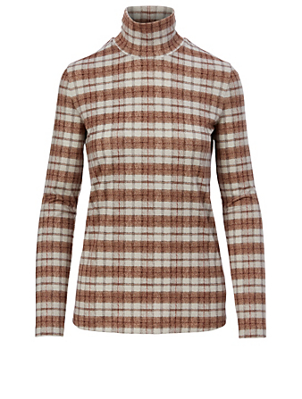 KUHO Turtleneck Top In Check Print Women's Neutral