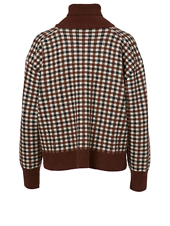 KUHO Wool-Blend Turtleneck Sweater In Check Print Women's Brown