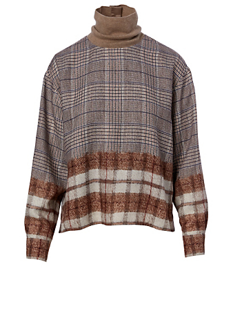 KUHO Turtleneck Blouse In Mixed Check Print Women's Neutral