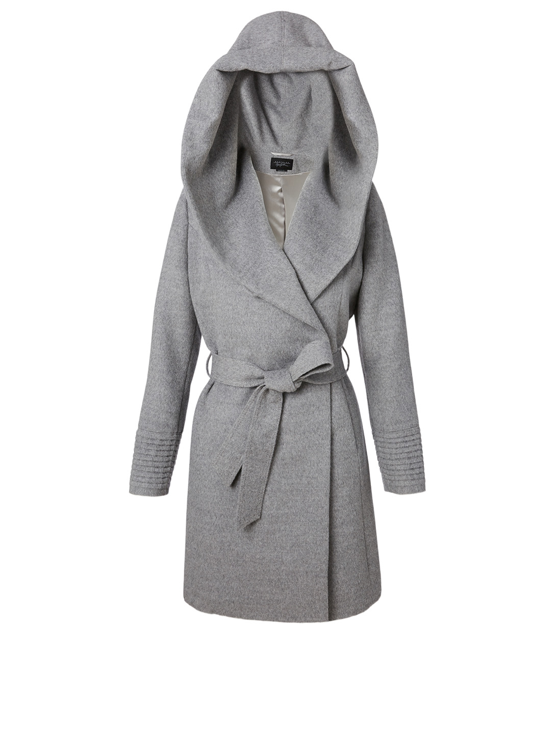 SENTALER Alpaca Midi Wrap Coat With Hood Women's Grey