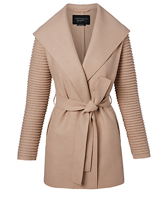 SENTALER Kate Wool Wrap Coat with Ribbed Sleeves Women's Brown