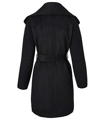 SENTALER Wool Wrap Coat with Ribbed Sleeves Women's Black