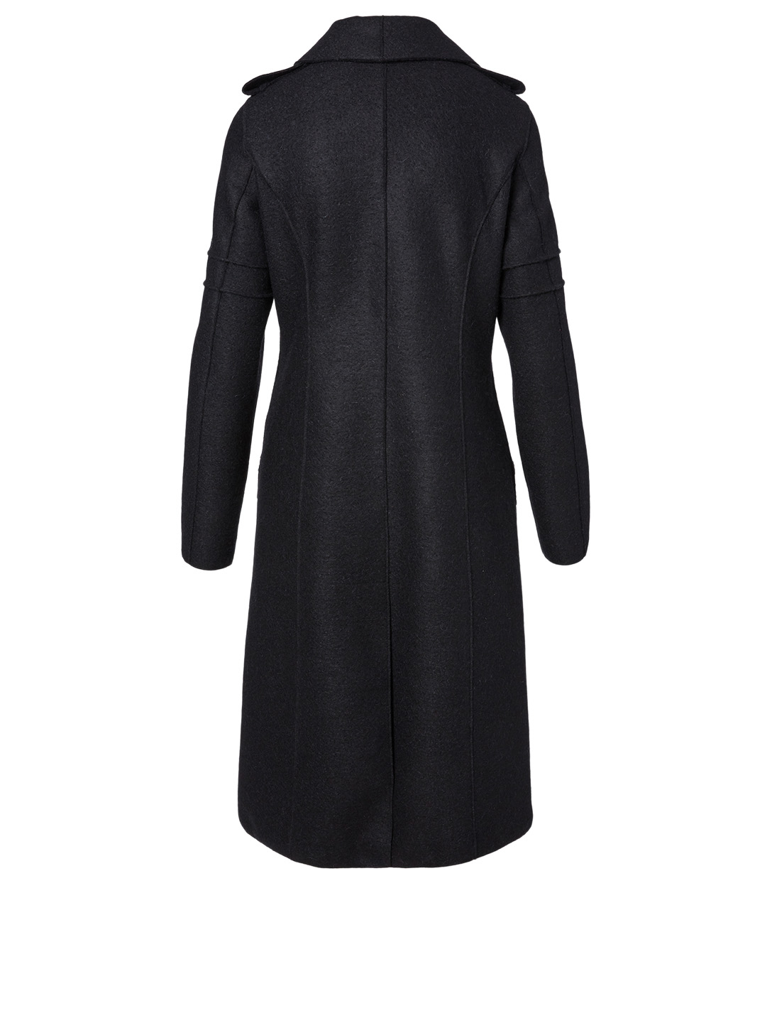 SENTALER Wool Double-Breasted Coat Women's Black