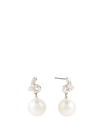 YOKO LONDON 18K White Gold Pearl Earrings With Diamonds Women's White