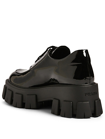 PRADA Patent Leather Platform Creeper Derby Shoes Women's Black