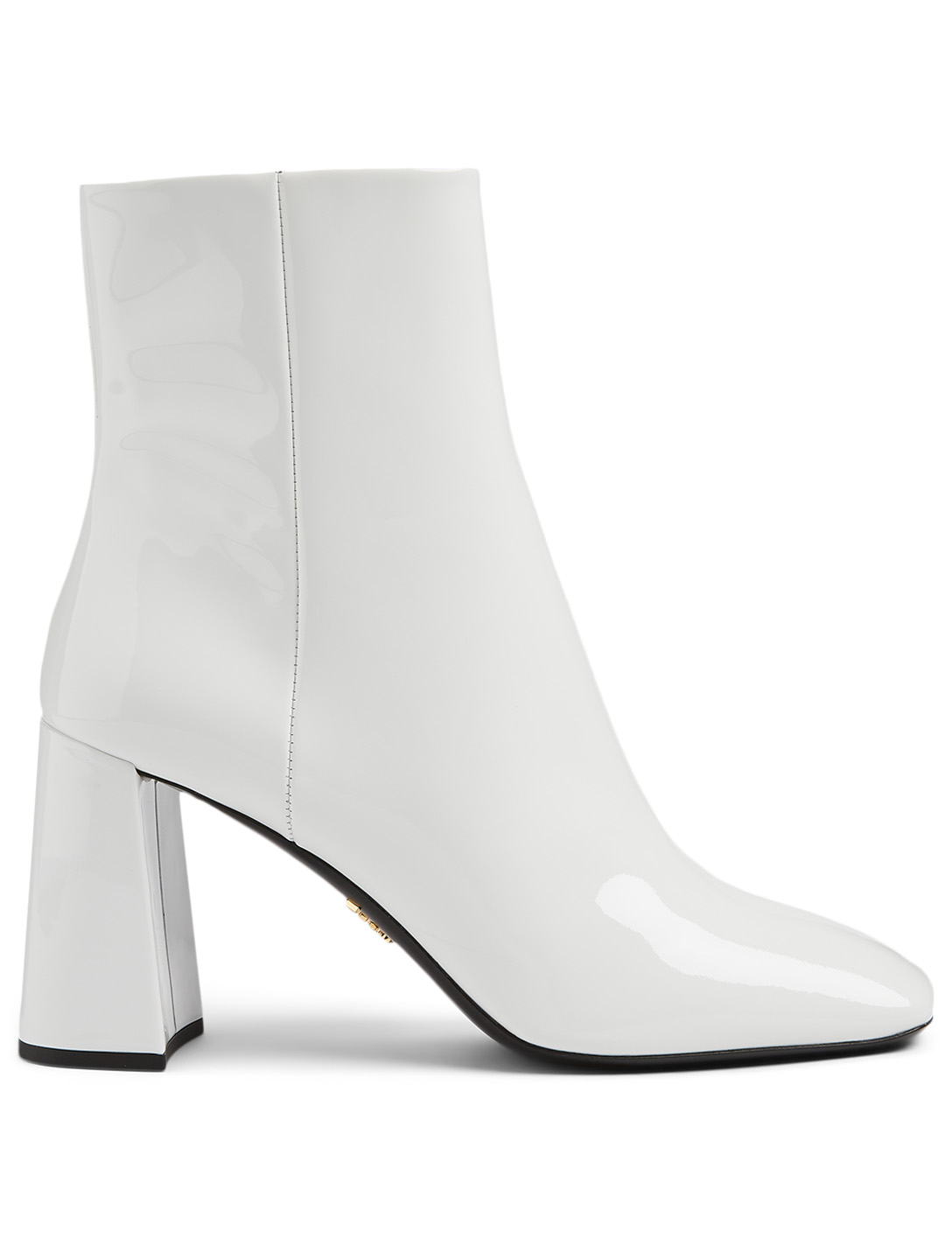 PRADA Patent Leather Ankle Boots Women's White