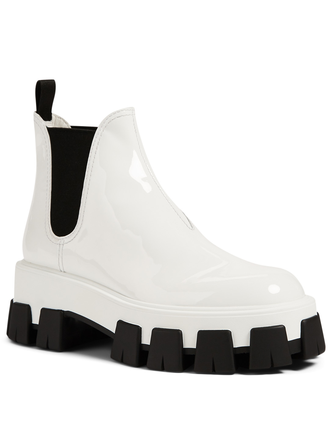 PRADA Patent Leather Platform Chelsea Boots Women's White