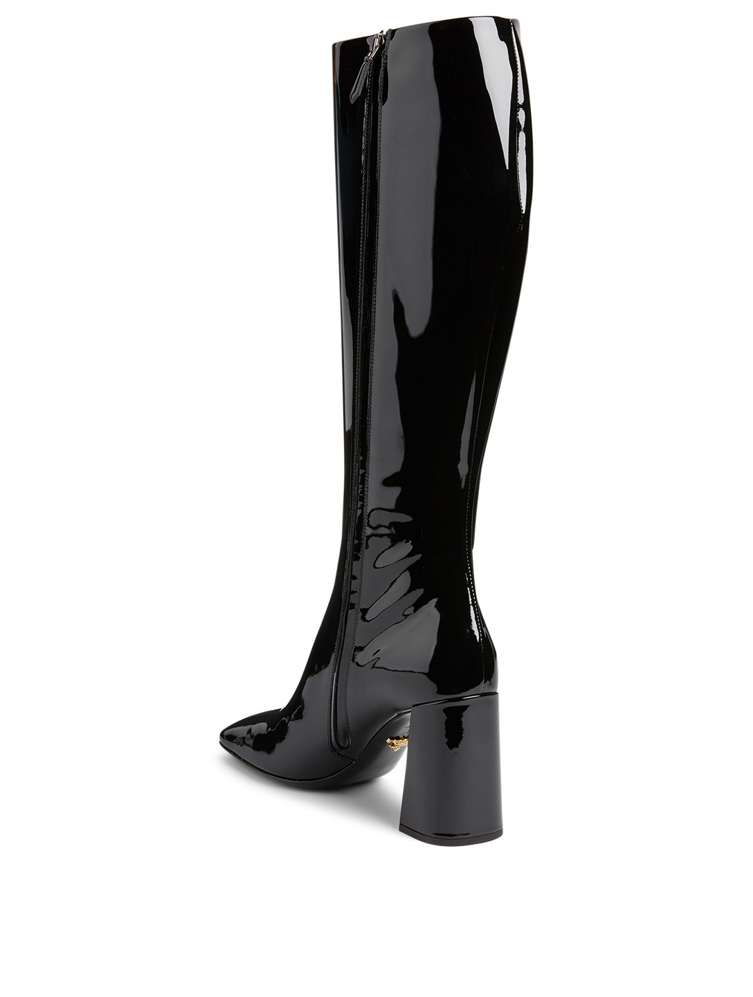PRADA Patent Leather Knee-High Boots Women's Black