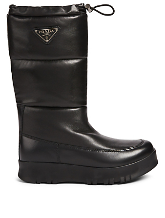 PRADA Leather Puffer Boots Women's Black