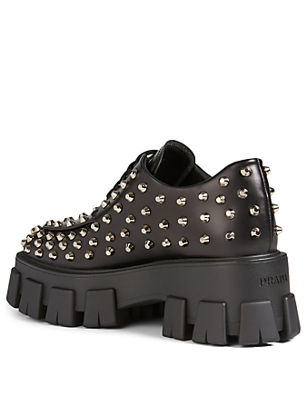 PRADA Leather Platform Creeper Derby Shoes With Studs Women's Black