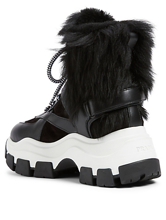 PRADA Leather And Suede Lace-Up Boots With Fur Women's Multi