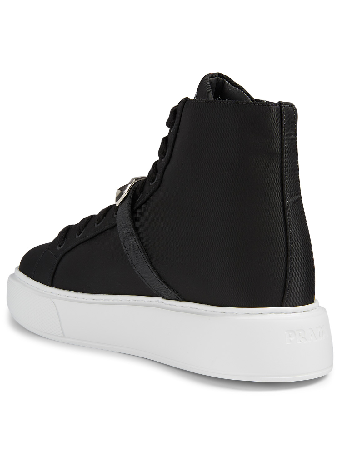 PRADA Nylon High-Top Sneakers With Studs Women's Black