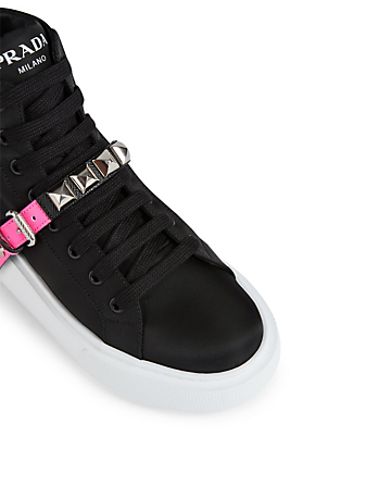 PRADA Nylon High-Top Sneakers With Studs Women's Pink