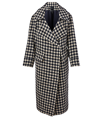 SMYTHE Wool-Blend Blanket Coat Women's Blue