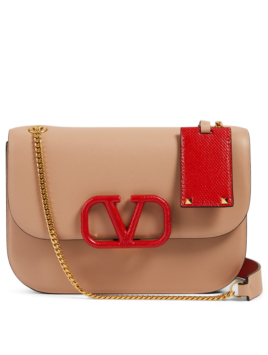 VALENTINO GARAVANI Small VRing Leather Chain Bag Women's Pink