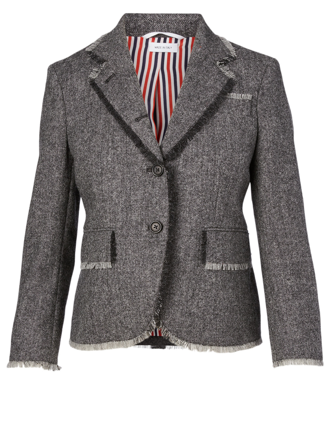 THOM BROWNE Cotton Tweed Blazer With Frayed Detail Women's Grey