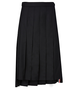 THOM BROWNE Wool Midi Skirt Women's Black
