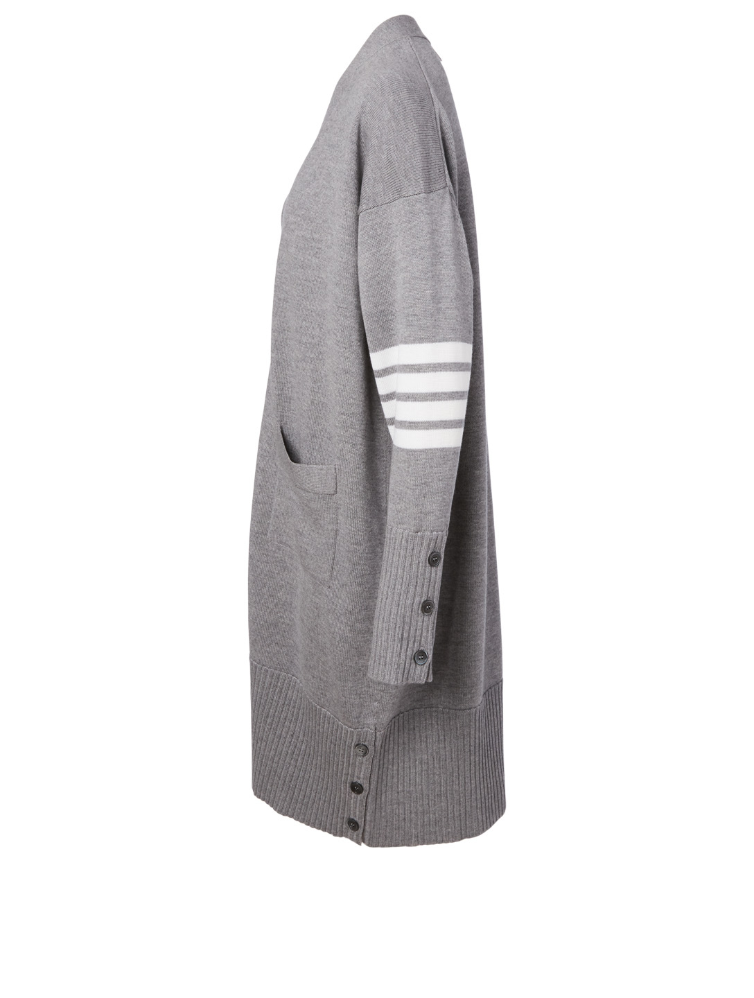 THOM BROWNE Wool Long Cardigan Women's Grey