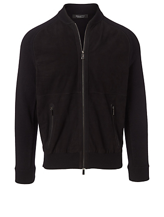 ERMENEGILDO ZEGNA Suede and Wool Zip Cardigan Men's Black