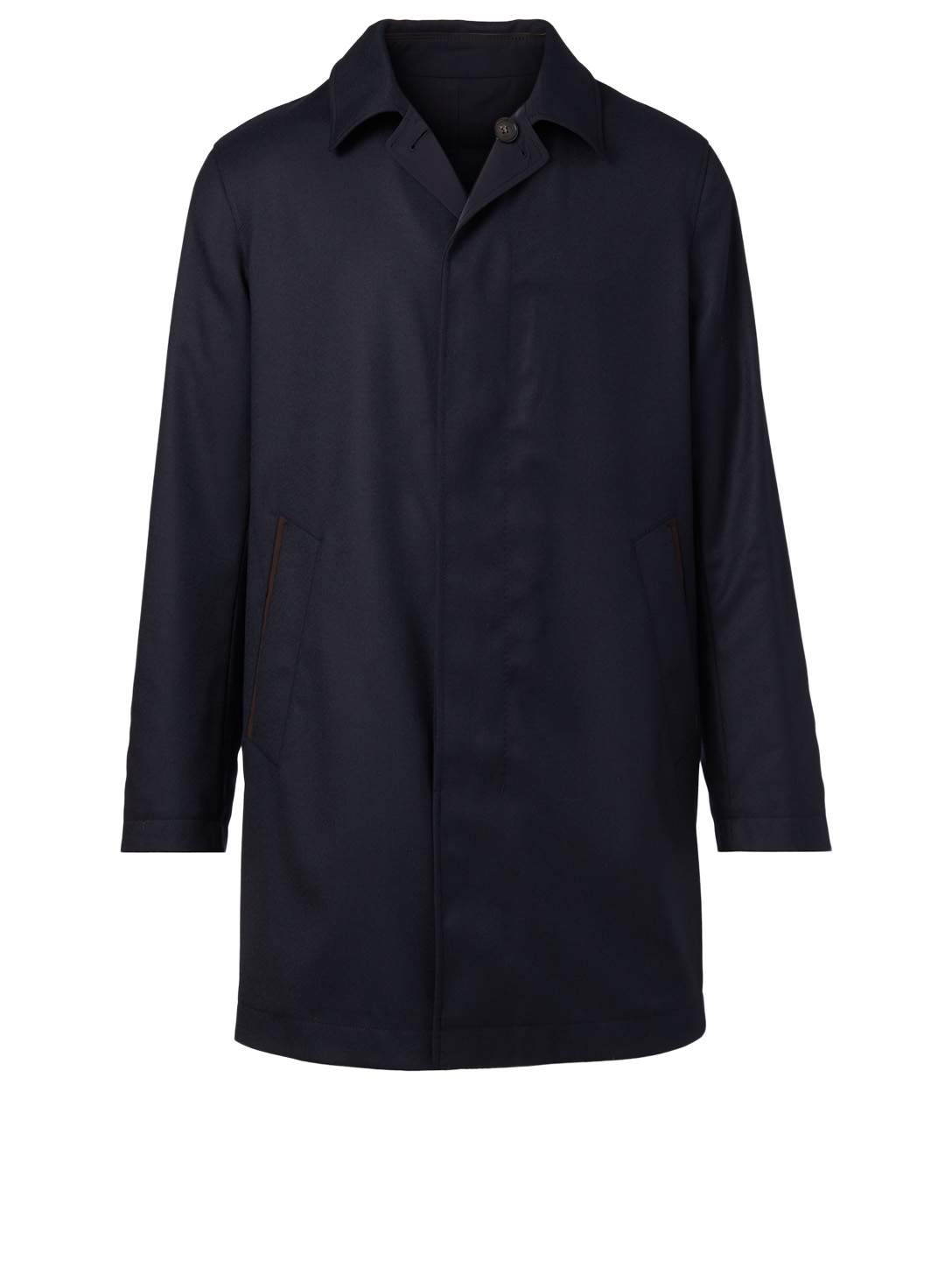 ERMENEGILDO ZEGNA Wool Long Coat Men's Blue