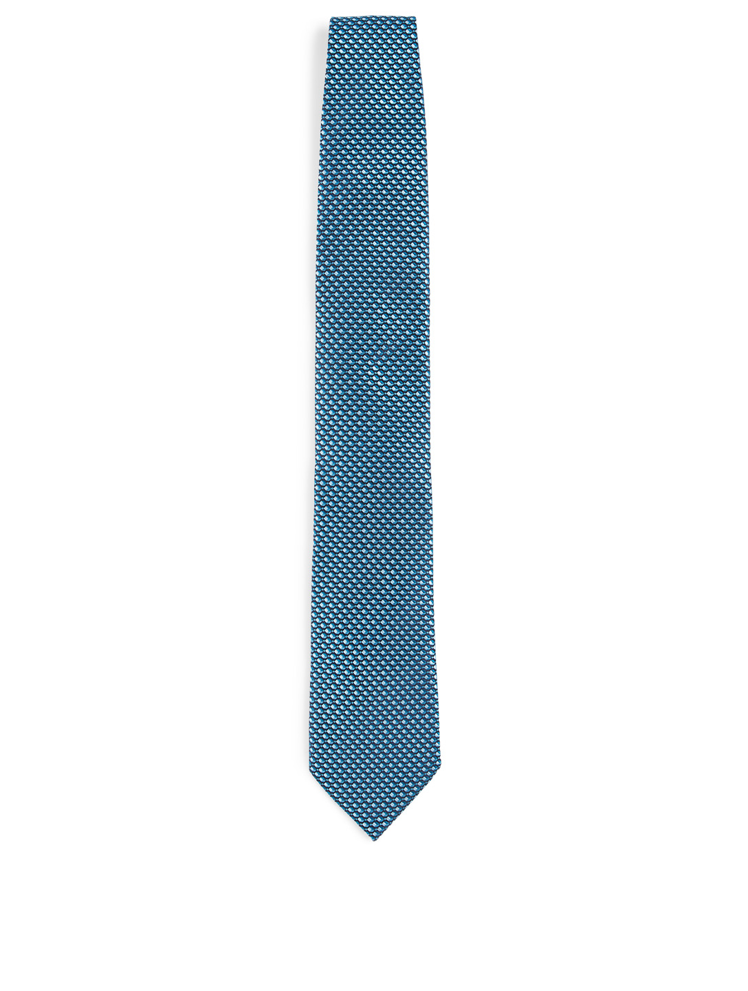 ERMENEGILDO ZEGNA Silk Tie In Micro Pattern Men's Blue