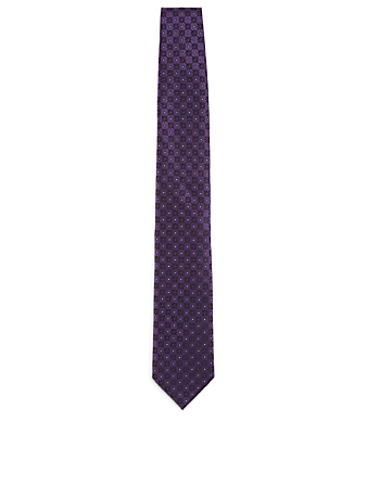 ERMENEGILDO ZEGNA Silk Tie In Geo Pattern Men's Purple